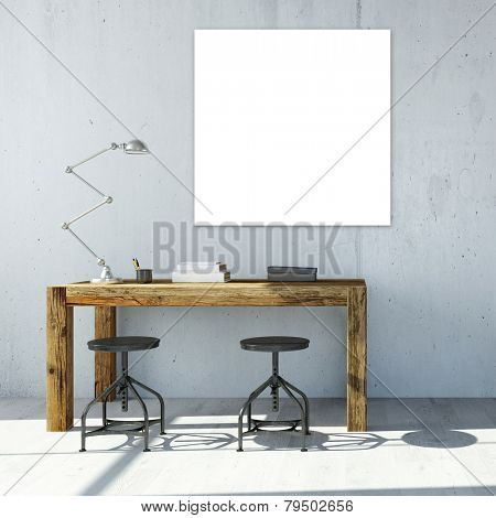 White empty square canavas hanging on wall in office (3D Rendering)