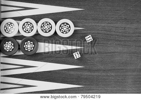 Backgammon Table Turkish Tavla And Double Six Dice Closeup