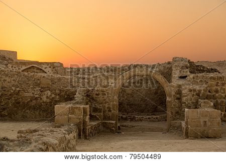 Old Bahrain Fort At Seef In Late Afternoon