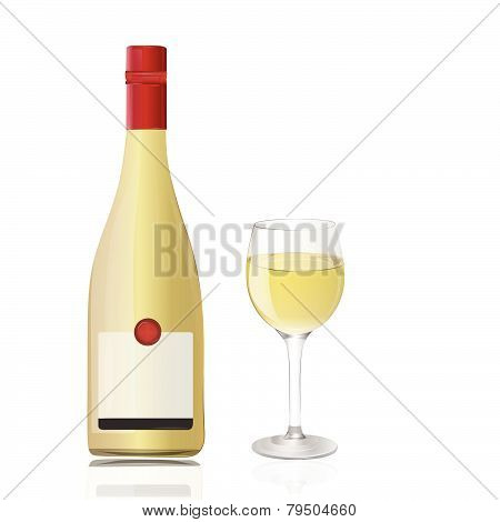 Bottle with wineglass