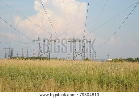 Summer Landscape With Power Line