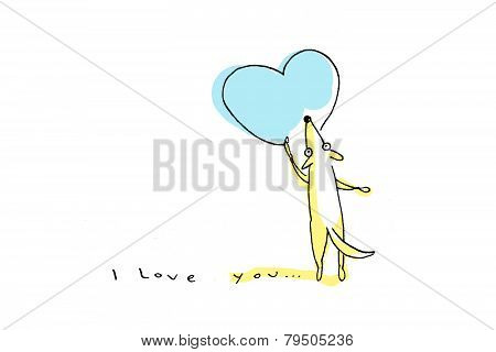 Yellow Dog Drawing Big Blue Heart On Valentine's Day - Illustration