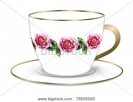 Rose Tea Cup and Saucer