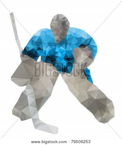 Hockey Goalie. Vector Drawing Created From Triangles