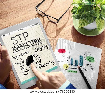 Digital Online STP Marketing Office Working Concept