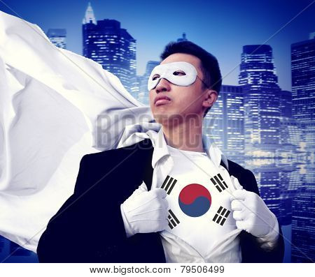 Superhero Businessman South Korea Cityscape Concept