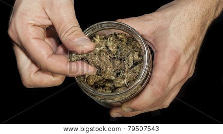 Hands Holding A Jar Of Marijuana