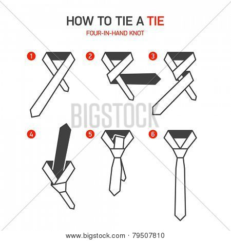 How to tie a tie instructions, Four-In-Hand knot. Vector.