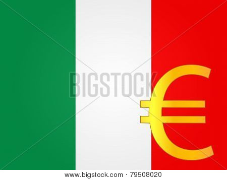 Euro Currency Sign Over The Italian Flag