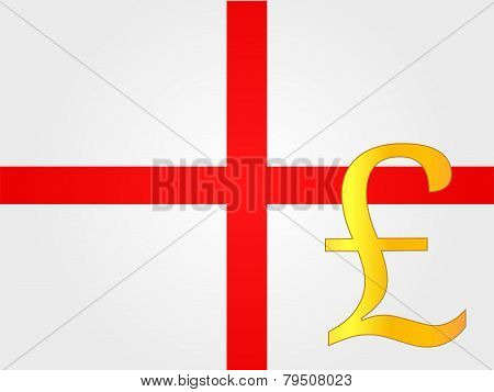 Pound Currency Sign Over The Flag of England