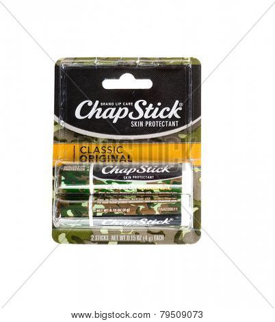Hayward, CA - January 5, 2015: Packet with a pair of ChapStick skin protection