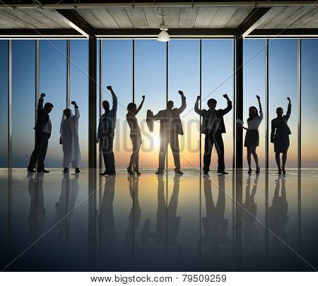 Business People Silhouette Board Room Celebration Joy Success