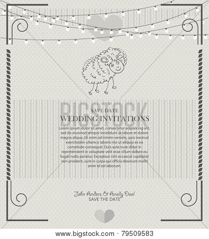 wedding invitation vintage with sheep