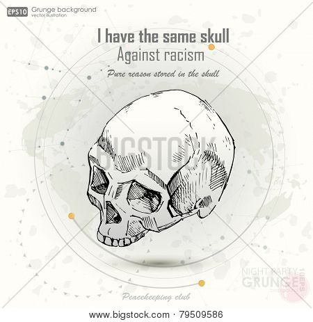 grunge print for t-shirt with  cranium. Design for t-shirt print with skull. vector illustration.