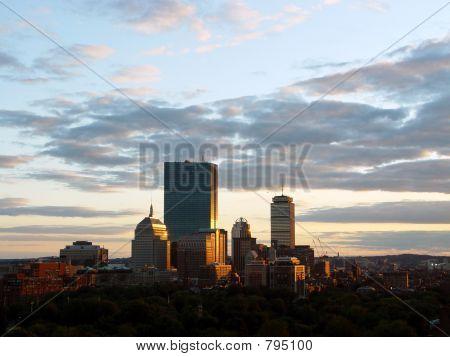 Sunset on Boston Skyline