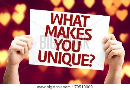 What Makes You Unique? card with heart bokeh background