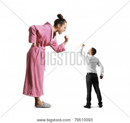 scold wife screaming and fist, small husband looking at his wife and showing fist. isolated on white background