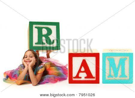 Girl With Alphabet Block  Ram