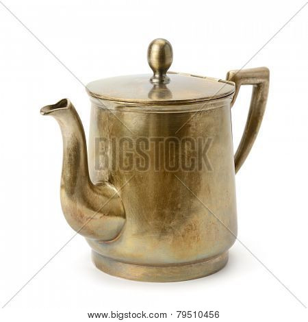 old copper kettle isolated on white