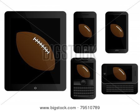 Mobile Devices With American Football Black
