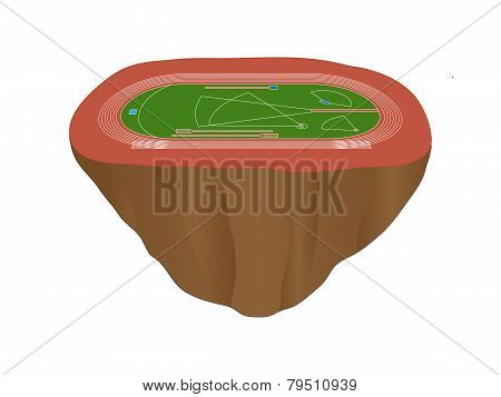Athletics Field With Red Track Floating Island
