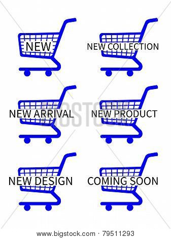 Blue Shopping Cart Icons With New Arrivals Texts