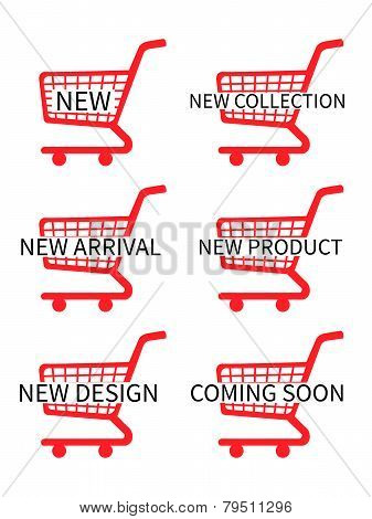 Red Shopping Cart Icons With New Arrivals Texts