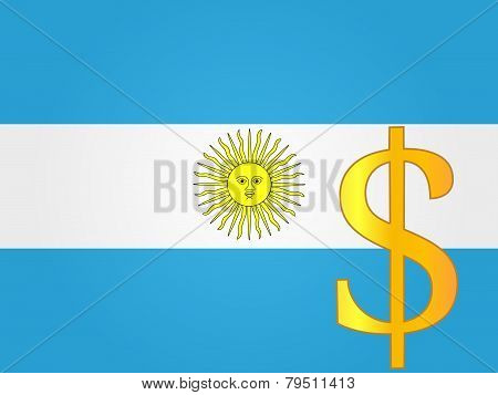 Peso Currency Sign Over The Argentinian Flag