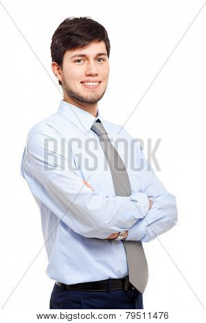 Male manager portrait isolated white