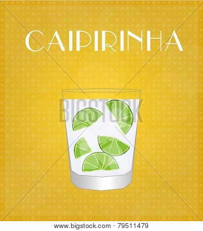 Drinks List Caipirinha With Golden Background