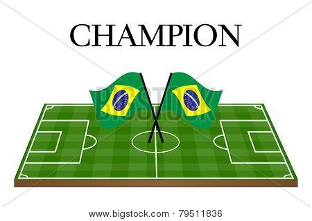 Football Champion Field With Brazilian Flag