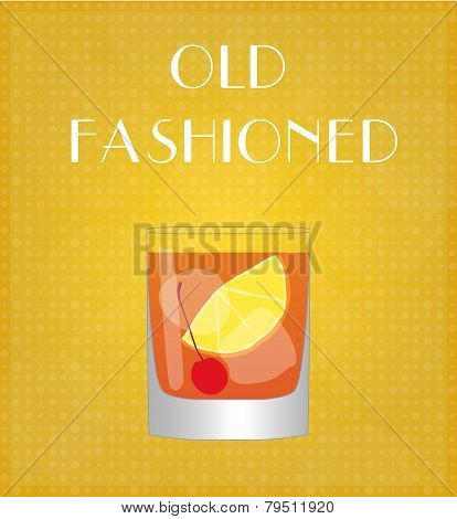 Drinks List Old Fashioned With Golden Background