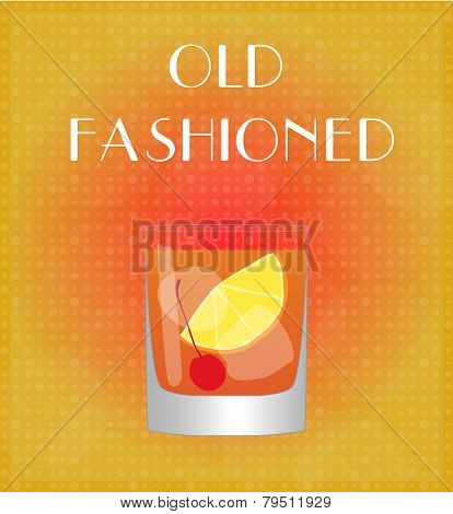 Drinks List Old Fashioned With Red & Golden Background
