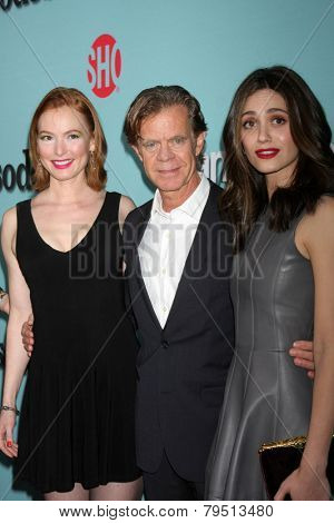 LOS ANGELES - JAN 5:  Alicia Witt, William H. Macy, Emmy Rossum at the Showtime Celebrates All-New Seasons Comedies at Cecconi's on January 5, 2014 in West Hollywood, CA
