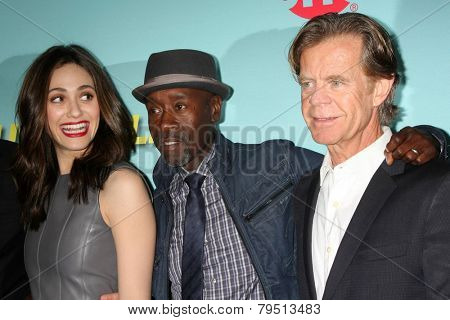 LOS ANGELES - JAN 5:  Emmy Rossum, Don Cheadle, William H Macy at the Showtime Celebrates All-New Seasons Comedies at Cecconi's on January 5, 2014 in West Hollywood, CA