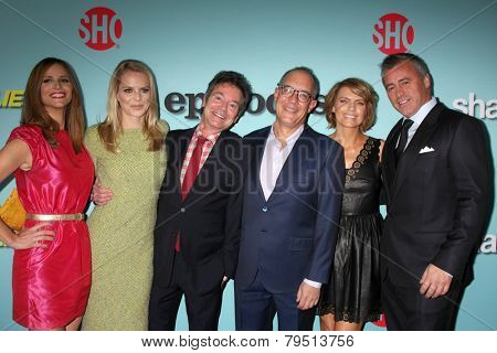 LOS ANGELES -JAN 5: Andrea Savage, Mircea Monroe, Jeffrey Klarik, David Crane, Kathleen Rose Perkins, Matt LeBlanc at the Showtime Celebrates Comedies at Cecconi's on January 5, 2014 in WHollywood, CA