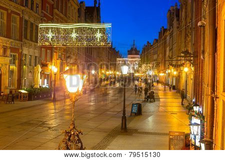 GDANSK, POLAND - DECEMBER 17, 2014: Historical architecture of the old town in Gdansk, Poland. Baroque architecture of the Long Lane is one of the most notable tourist attractions of the city.