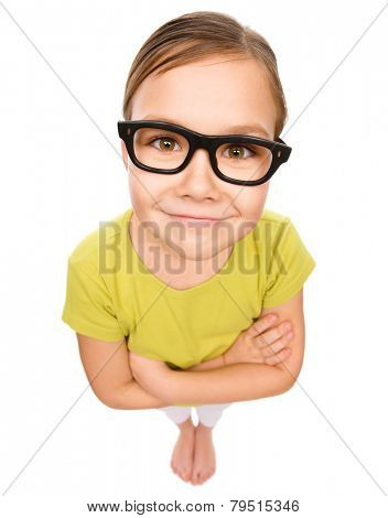 Little girl wearing glasses, bad eyesight concept, fisheye portrait, isolated over white