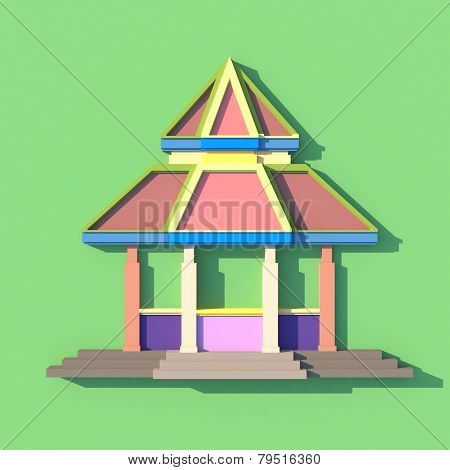 3D Elevation Of South-east Asian Pavilion Or Temple Front View In Artistis Design