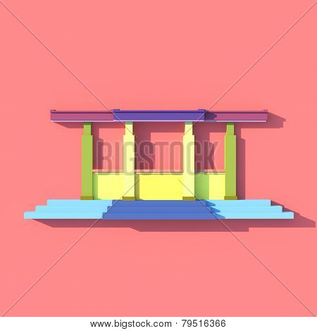 3D Front View Elevation Of South-east Asian Stairs Building In Artistic Design
