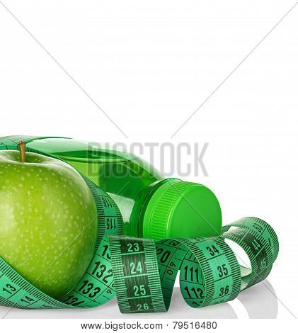 Fitness, Weight Loss Concept With Green Apples, Bottle Of Drinking Water And Tape Measure Isolated O
