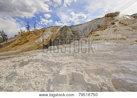 White Travertine Hot Springs On A Sunny Day