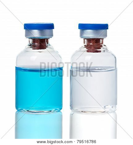Ampoules, Bottles, Vials Isolated On White Background