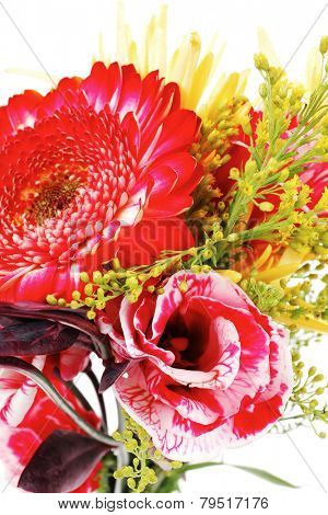 red and orange gerbera , rose and gold mums flowers in bouquet isolated over pure white background