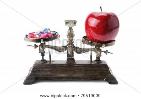 Bowls Of Scales, Apple And Pills