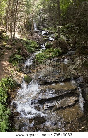 Saint Spirit Waterfall And Spring In Rhodopes Mountain