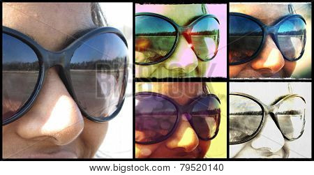 Collage of a girl wearing glasses with vintage effects