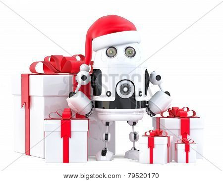 Robot Santa With Gift Boxes. Christmas Concept. Isolated, Contains Clipping Path