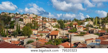 Panoramic View Of Lofou, A Famous Touristic Village In Cyprus. Limassol District