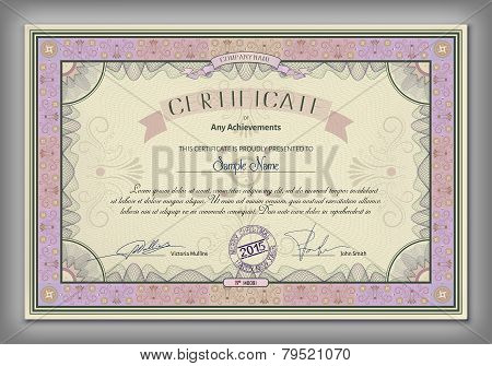 Vintage Certificate Template With Detailed Border And Calligraphic Elements On Yellow Paper